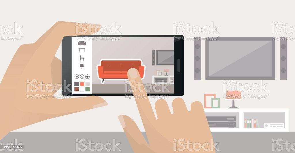 Interior design app vector art illustration