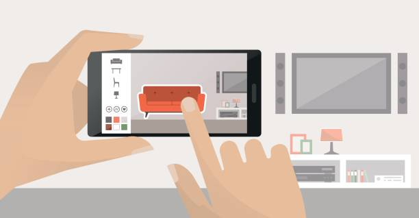 Interior design app Man using a smartphone to place virtual furnishing in his room, augmented reality and apps concept interior designer stock illustrations