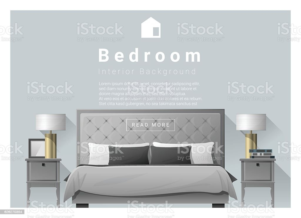 Interior design bedroom background 2 vector art illustration