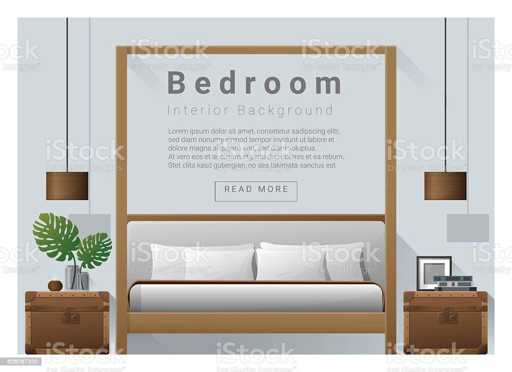 Interior design bedroom background 7 vector art illustration