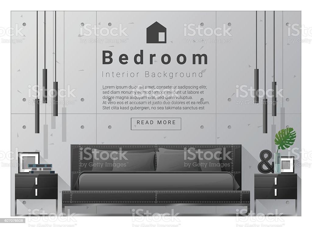 Interior design bedroom background 8 vector art illustration