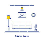 Interior design thin line illustration design.