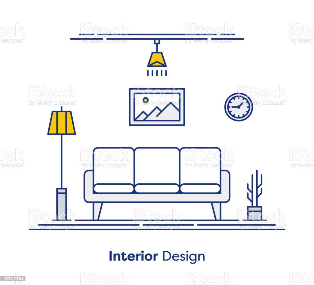 Concepto de diseño de interiores - ilustración de arte vectorial