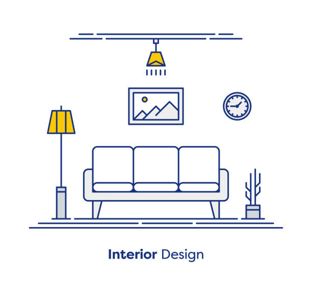 Interior Design Concept Interior design thin line illustration design. interior designer stock illustrations
