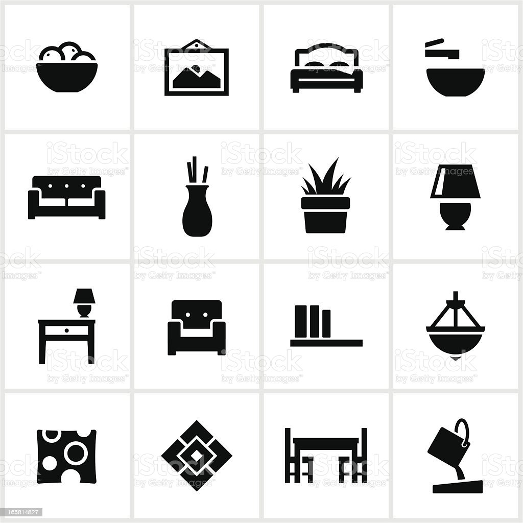 Interior Design Elements Icons vector art illustration