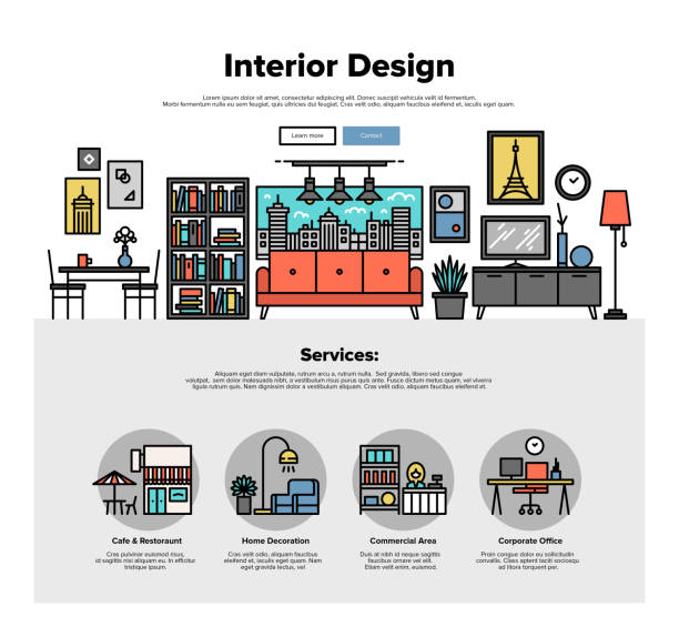 Interior design flat line web graphics One page web design template with thin line icons of commercial property decoration, real estate interior improve, apartment dwelling. Flat design graphic hero image concept, website elements layout. interior designer stock illustrations