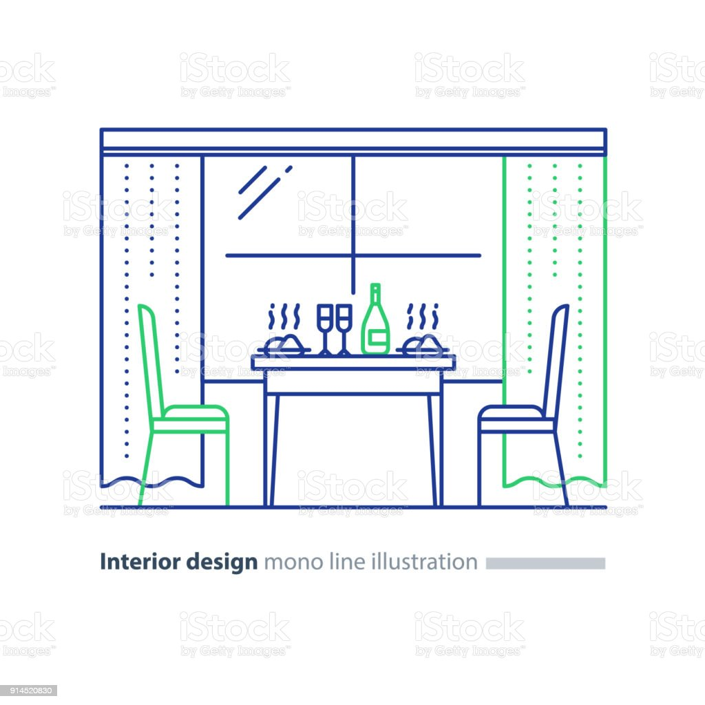 Interior design, home dining room, table setting and two chairs