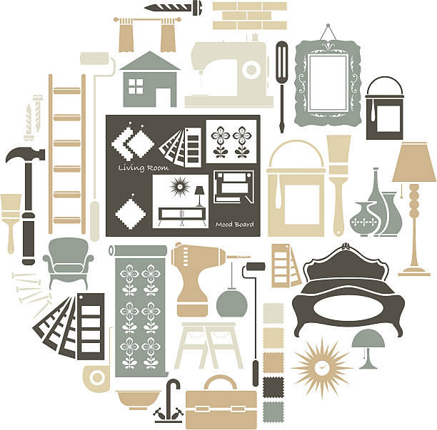 stockillustraties, clipart, cartoons en iconen met interior design icon set - interior design