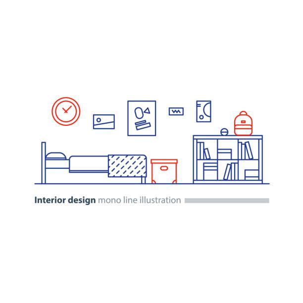 interior design-idee, schlafzimmermöbel, anordnung plan, bett und regal - stapelbett stock-grafiken, -clipart, -cartoons und -symbole