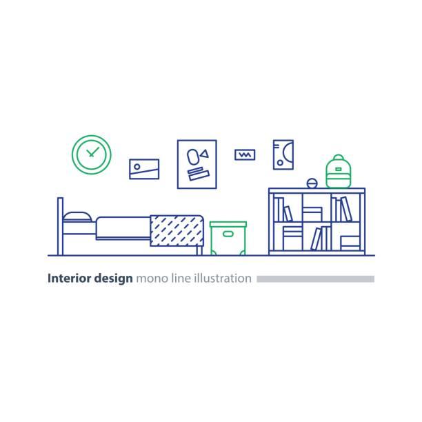 idee der innenarchitektur, schlafzimmermöbel, arrangement-plan, bett und bücherregal - stapelbett stock-grafiken, -clipart, -cartoons und -symbole