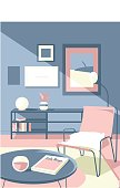 interior Design illustration in soft Colours
