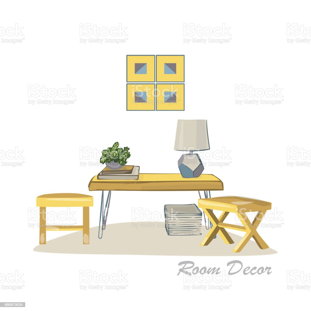 Interior Designdarstellung Moderne Elemente Wohnzimmer Trendigen ...