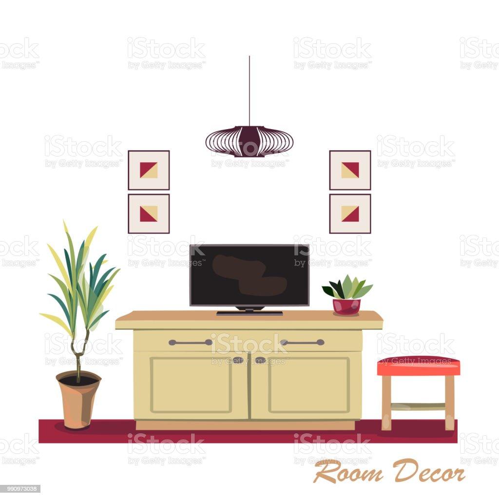 Interior Designdarstellung Moderne Rote Salon Trendigen Stil ...
