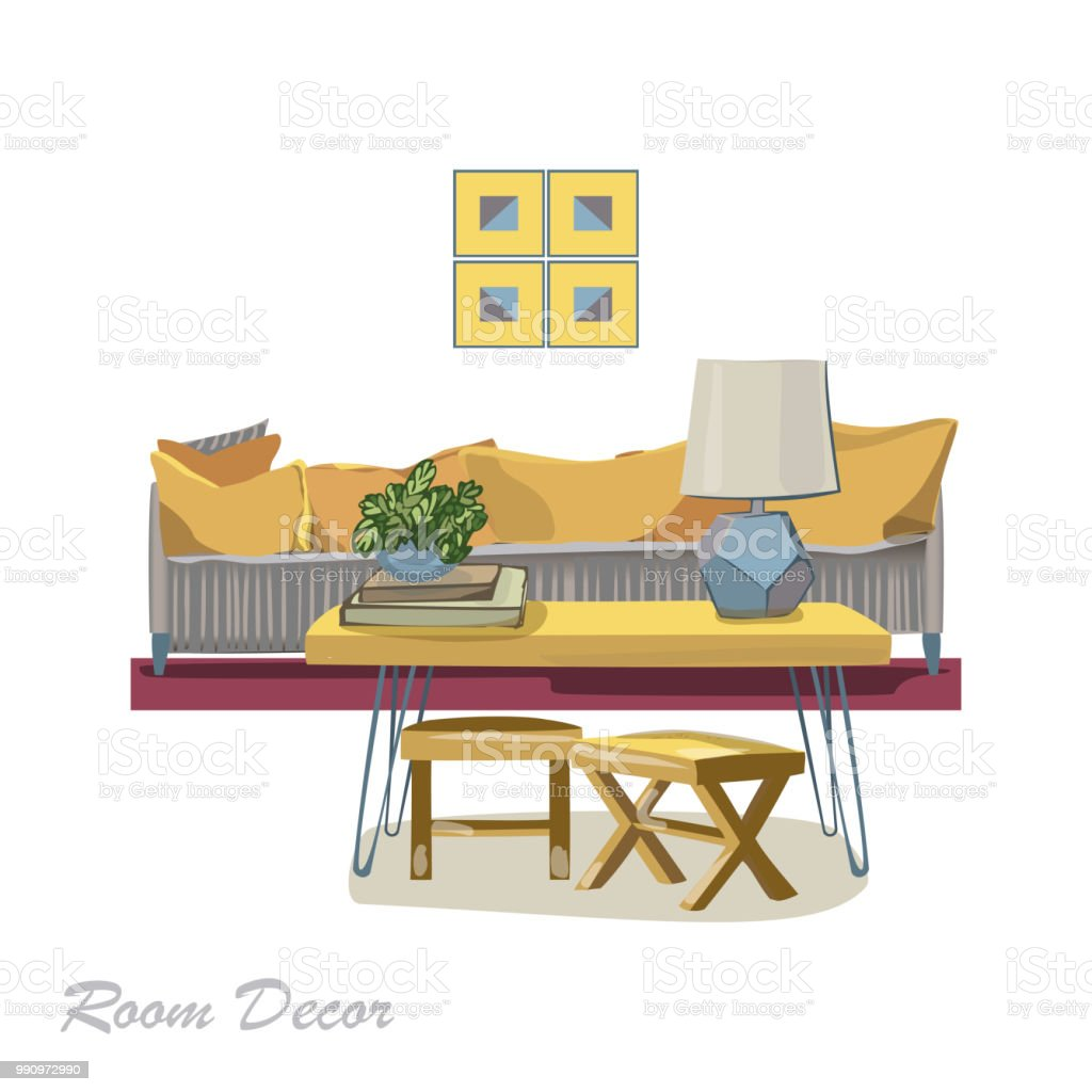 Interior Designdarstellung Moderne Gelb Wohnzimmer Trendigen Stil ...