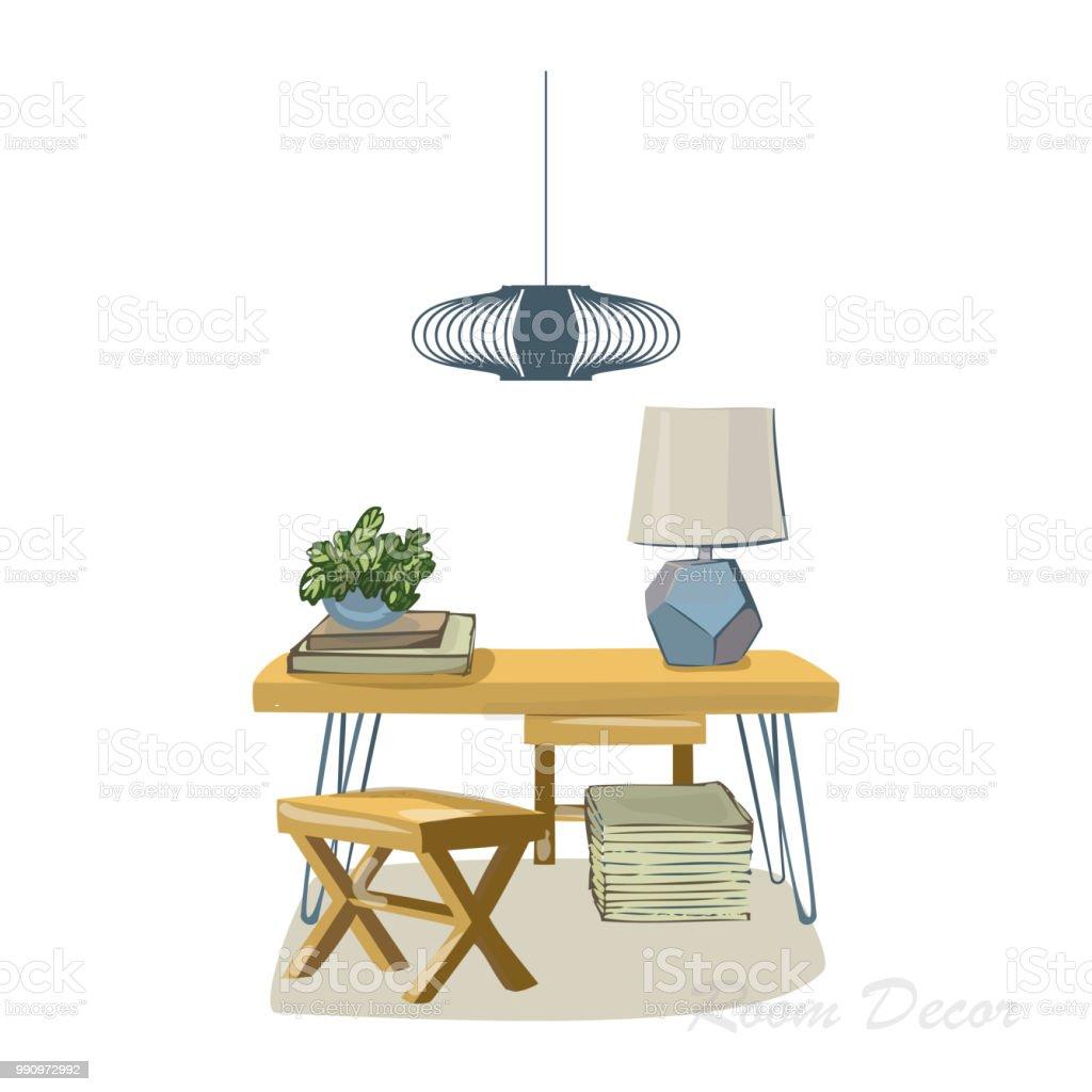 Interior Designdarstellung Skizzieren Sie Flach Moderne Elemente