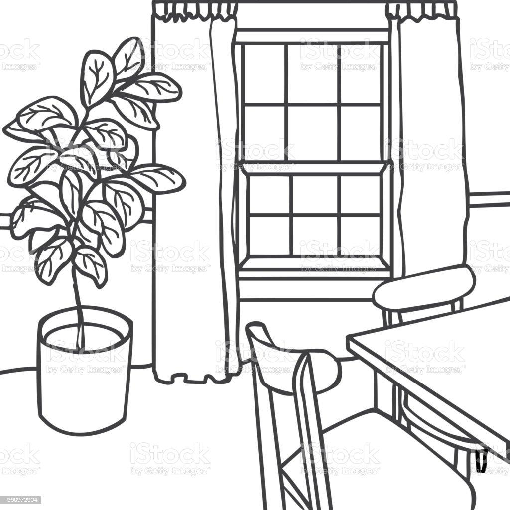 Interior Design Illustration Sketch Modern Living Room Trendy Style