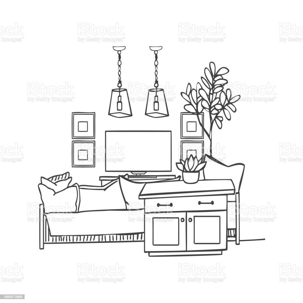 Interior Design Illustration Skizze. Moderne Weiße Wohnzimmer Trendigen Stil.  Hausdekoration. Möbel