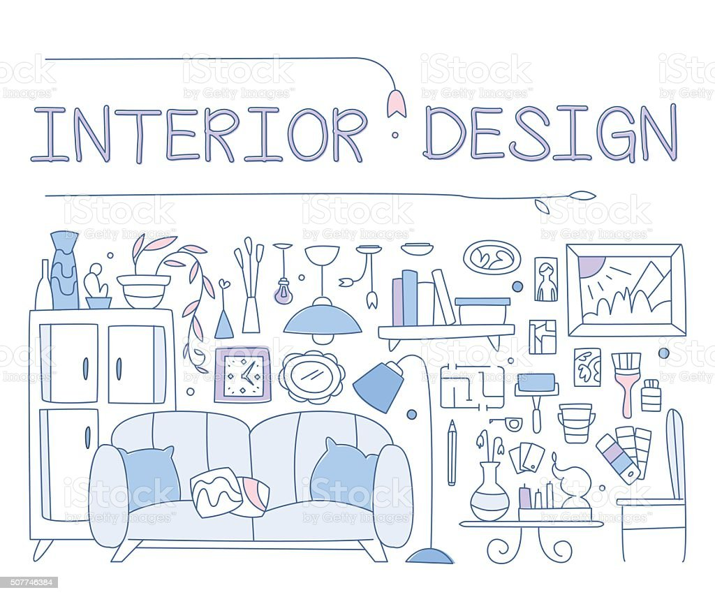 Interior Gestaltung, Verbesserte Interieur, Wohnung, Gehäuse. Grafik Bild  Konzept, Webseite Lizenzfreies