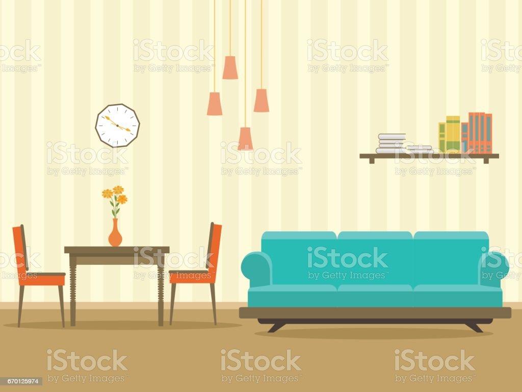 Innenarchitektur In Flachen Stil Wohnzimmer Mit Möbel Sofa Tisch ...