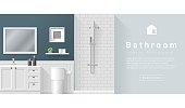 Interior design Modern bathroom background , vector, illustration