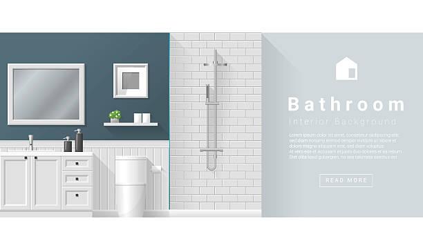 Interior design Modern bathroom background 2 Interior design Modern bathroom background , vector, illustration bathroom backgrounds stock illustrations