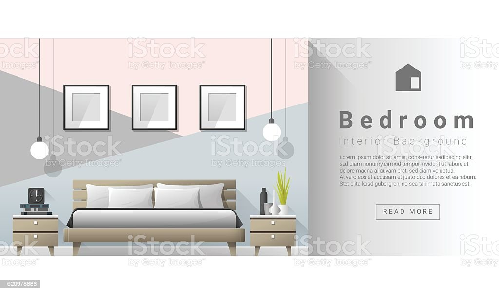 Interior design Modern bedroom background 2 vector art illustration