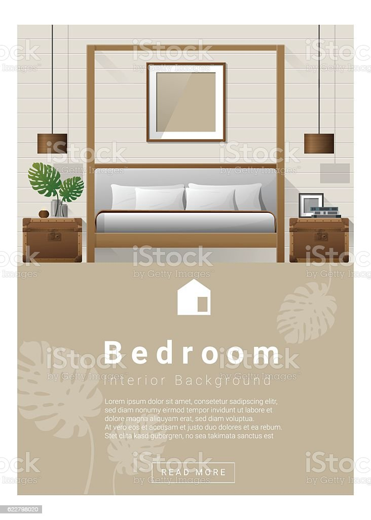 Interior design Modern bedroom banner 7 vector art illustration