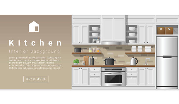 illustrazioni stock, clip art, cartoni animati e icone di tendenza di interior design modern kitchen background 2 - kitchen situations