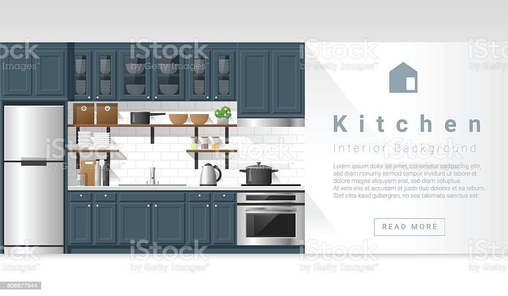 Interior design Modern kitchen background 4 vector art illustration