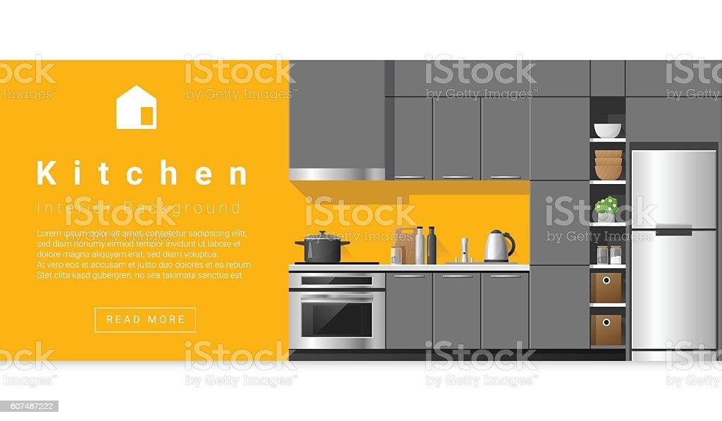 Interior design Modern kitchen background 5 vector art illustration