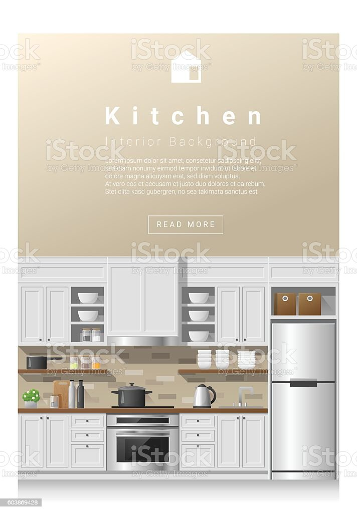 Interior Design Modern Kitchen Banner 2 Stock Vector Art More