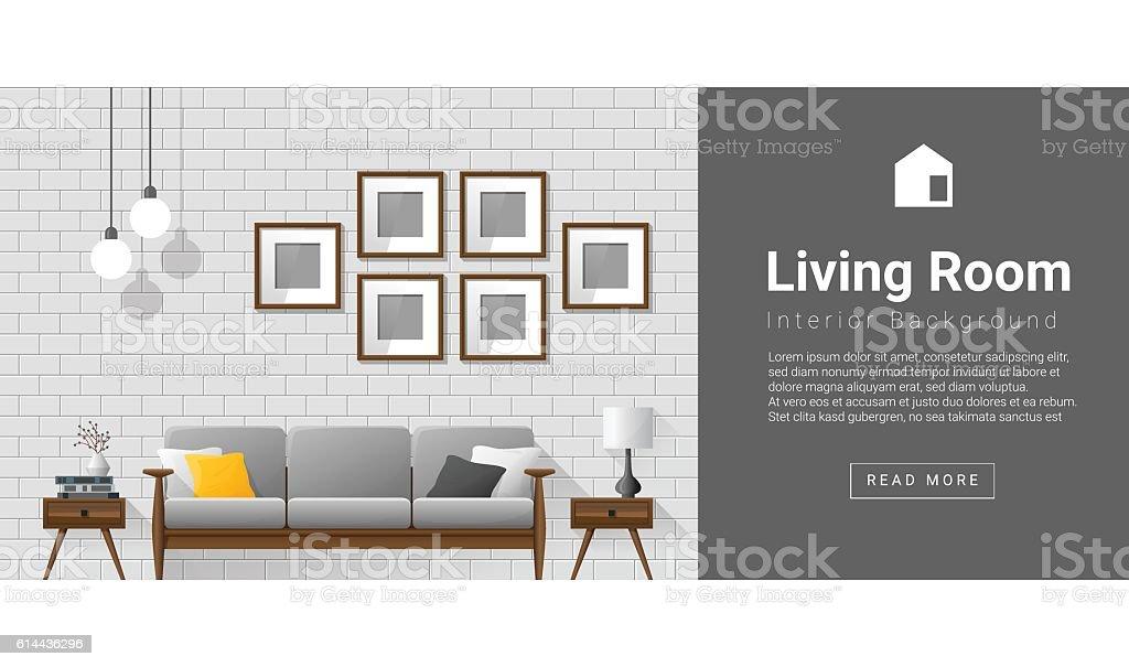 Interior design Modern living room background 1 vector art illustration