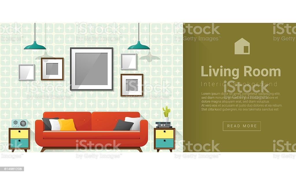 Interior design Modern living room background 4 vector art illustration