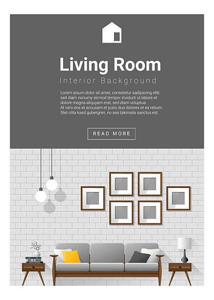 Interior Design Modern Living Room Banner 1 Vector Art Illustration