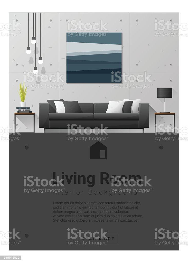 Interior design Modern living room banner 6 vector art illustration