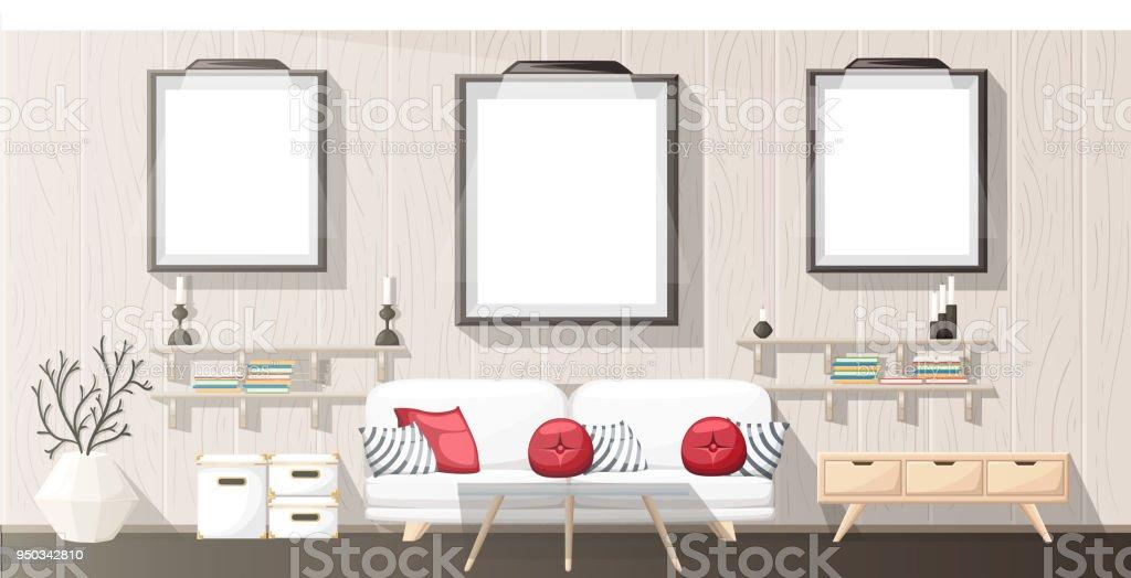 Interior Design. Modernes Wohnzimmer Mit Grauen Sofa, Vase, Regal Mit  Büchern Und Nachttisch