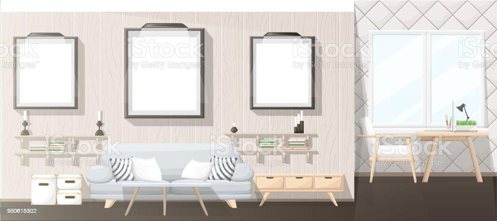 Interior Design Modernes Wohnzimmer Mit Grauen Sofa Vase Regal Mit ...