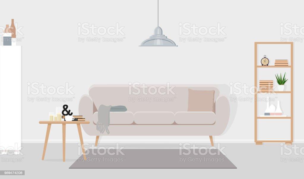 Interior Design Aus Einem Wohnzimmer Mit Einer Grauen Lampe über Eine Beige  Sofa. Flache Vektor