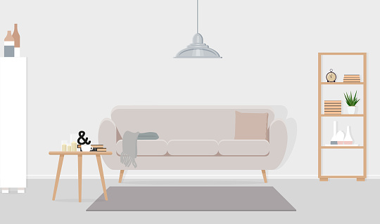 Interior design of a living room with a gray lamp over a beige sofa. Vector flat illustration