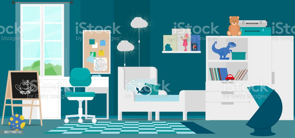 Interior Design Of A Modern Childrens Room Stock Vector Art More