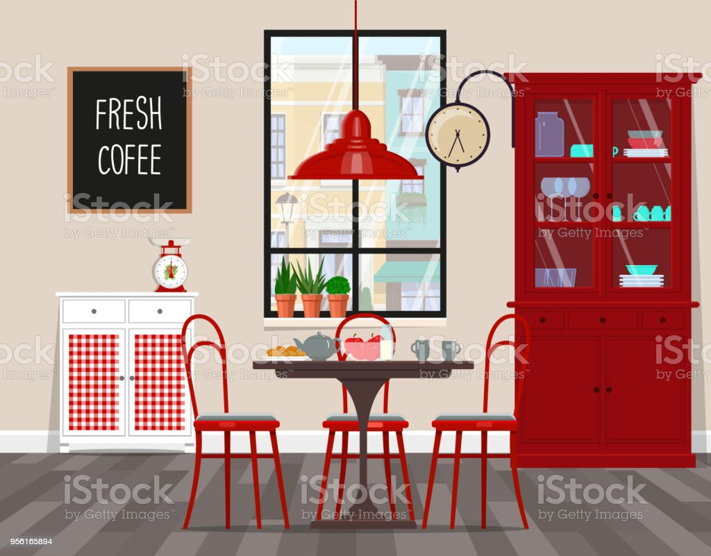 Interior Design Von Café Küche Esszimmer Im Retrostil Flache ...