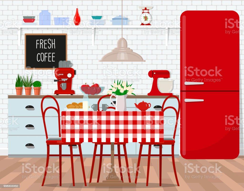 Interior Design Der Küche Esszimmer Im Retrostil Flache Vektorgrafik ...