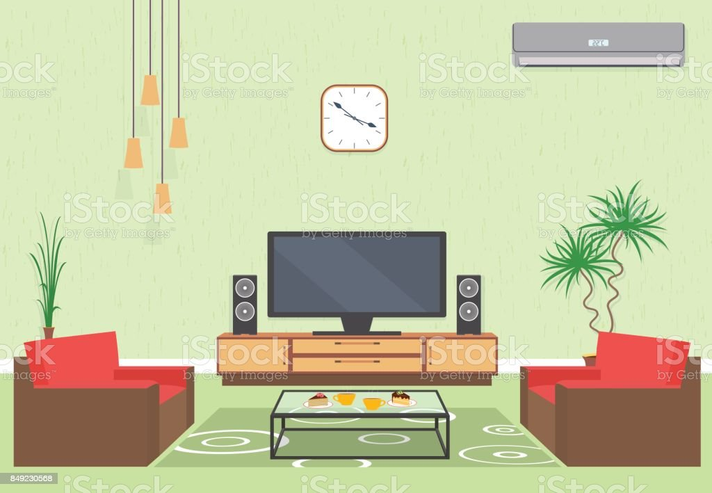 Interior Design Of Living Room In Flat Style With Furniture, Sofa, Table, Tv