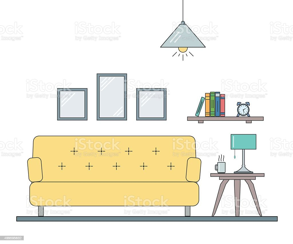 Interior Design Of Living Room In Outline The Flat Style. Royalty Free  Interior Design
