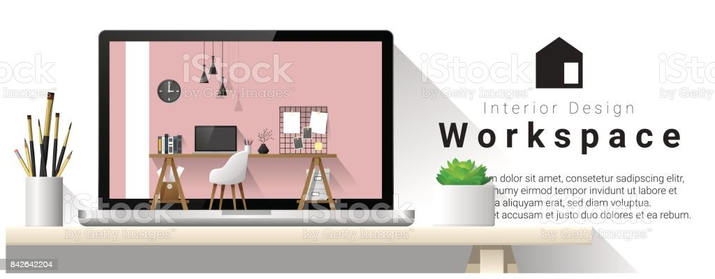 Interior Design Of Modern Office Workplace Vector Illustration Stock