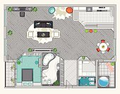 Interior design of one bedroom apartment. Top view. Modern style.