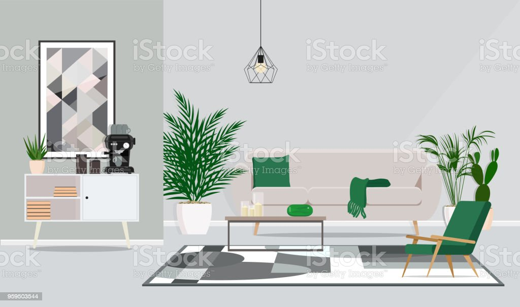 Interior design of the room, office for discussion and coffee pauses. Vector flat illustration - Royalty-free Acessório arte vetorial