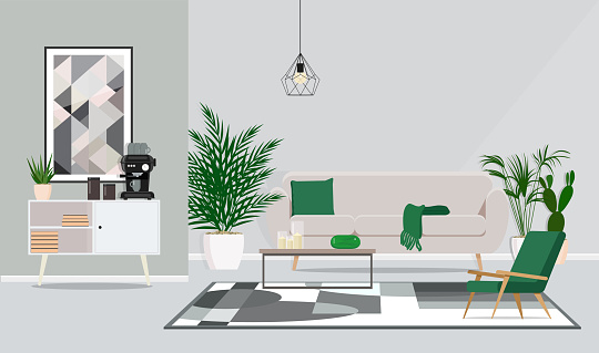 Interior Design Of The Room Office For Discussion And Coffee Pauses Vector Flat Illustration - Arte vetorial de stock e mais imagens de Acessório