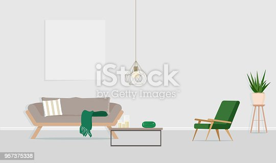 istock Interior design of the room with a gray sofa, an armchair and an empty poster on the wall. Vector flat illustration 957375338