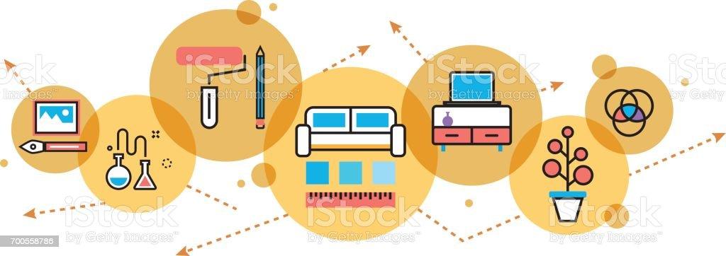 Interior Design Prozess Dekoration Webseite Banner Und Header Im Kreis Stock Vektor Art Und Mehr Bilder Von Ausverkauf Istock